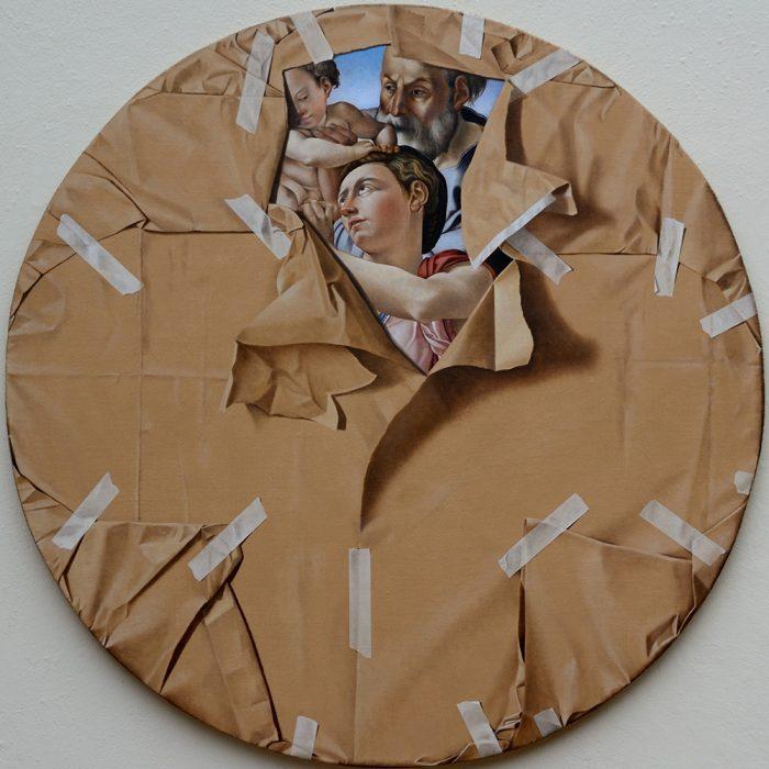 Furto d'artista n°1 2012, olio su tela, diametro cm 90