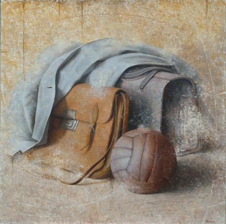 Dopo scuola, 2004, olio su tela, cm. 70 x 70