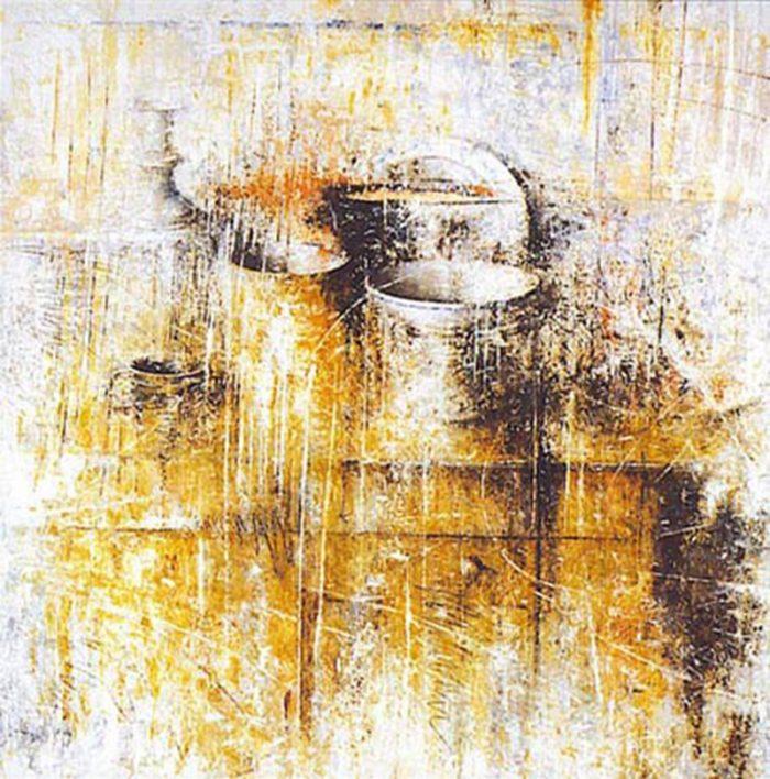 Credenza con oggetti 1996, olio su tela, cm. 100 x 100