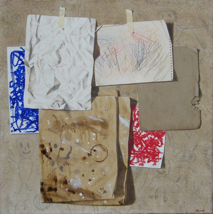Istinti, 2010, Olio e pastello su tela, 100 x 100 cm
