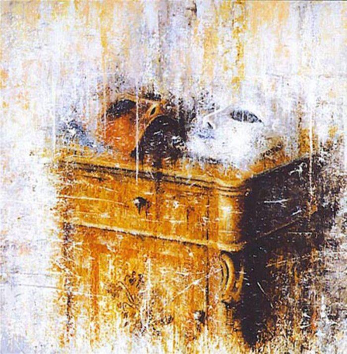 Maschere su comodino 1996, olio su tela, cm. 70 x 70