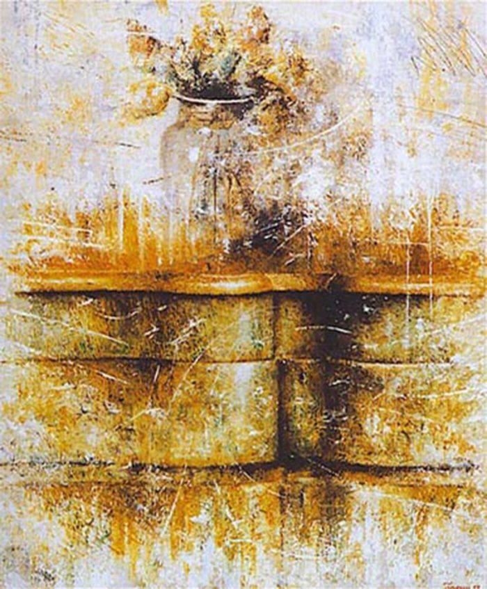 Vaso di fiori 1996, olio su tela, cm. 60 x 70