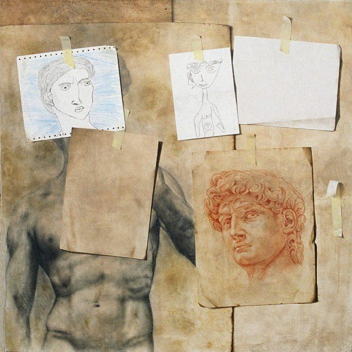 Composizione scomposta, 2006, olio e pastello a cera su tela, cm. 100 x 100