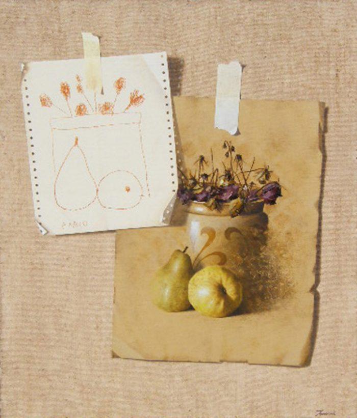 Confronto, 2007, olio e pastello a cera su tela, cm. 60 x 70