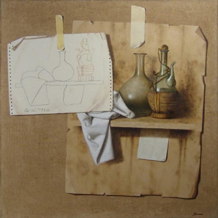 Confronto, 2008, olio e pastello a cera su tela, cm. 80 x 80