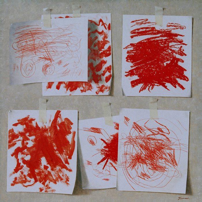 Giochiamo con il rosso, 2005, olio su tela, cm. 70 x 70