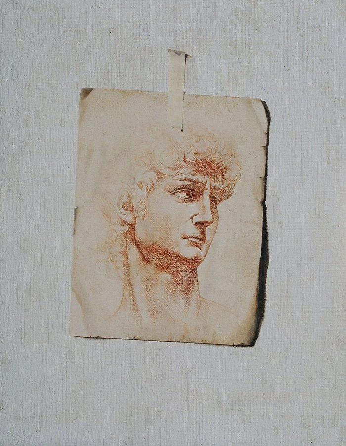 La sfida, 2005, olio e pastello a cera su tela, cm. 70 x 90