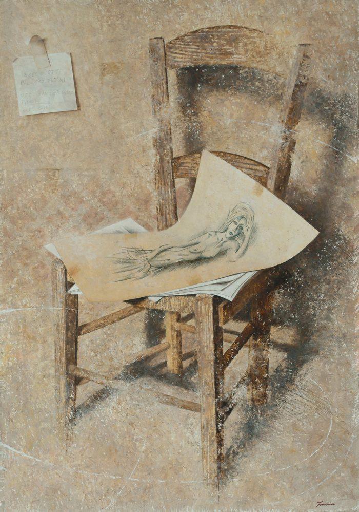 L'amore perduto, 2004, olio e pastelli a cera su tela, cm. 70 x 100