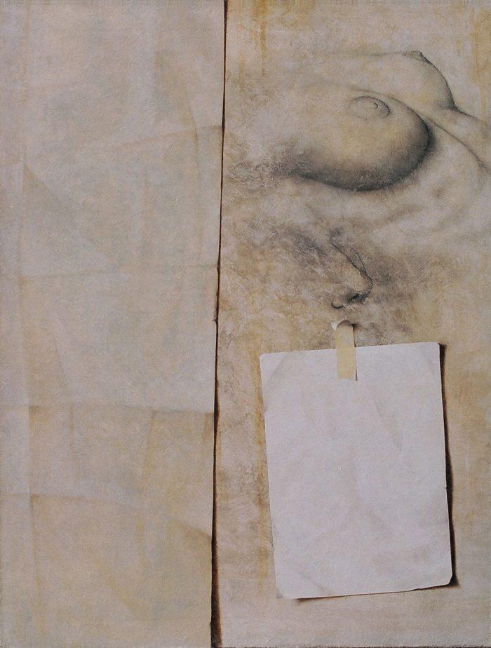 Maternità, 2006, olio e punta di creta su tela, cm. 70 x 90