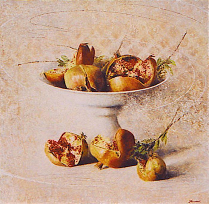 Melograne, 1998, Olio su tela, cm. 60 x 60