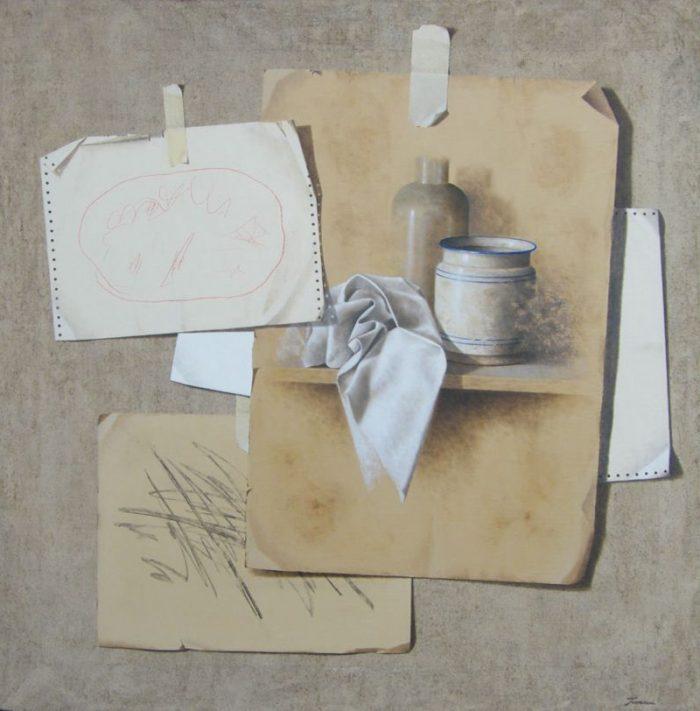 Natura silente, 2008, olio su tela, 100 x 100