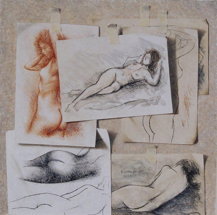 Nello studio, 2005, olio e pastello a cera su tavola, cm. 60 x 60