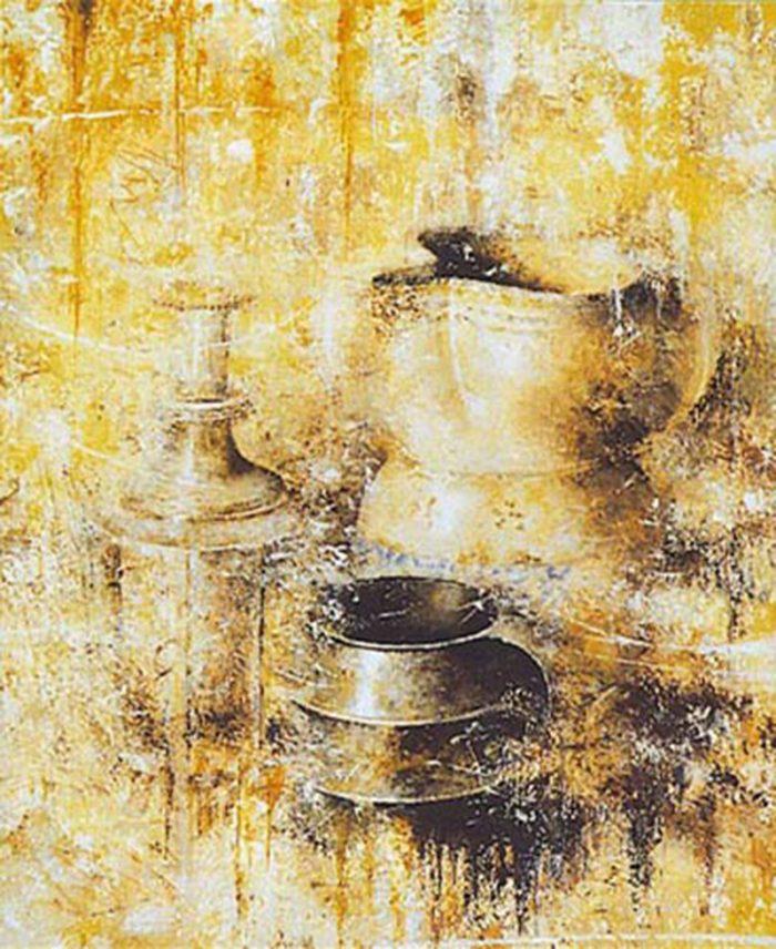 Oggetti con brocca 1996, olio su tela, cm. 50 x 60
