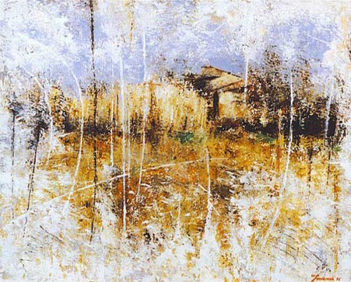 Paesaggio toscano 1996, olio su tela, cm. 50 x 40