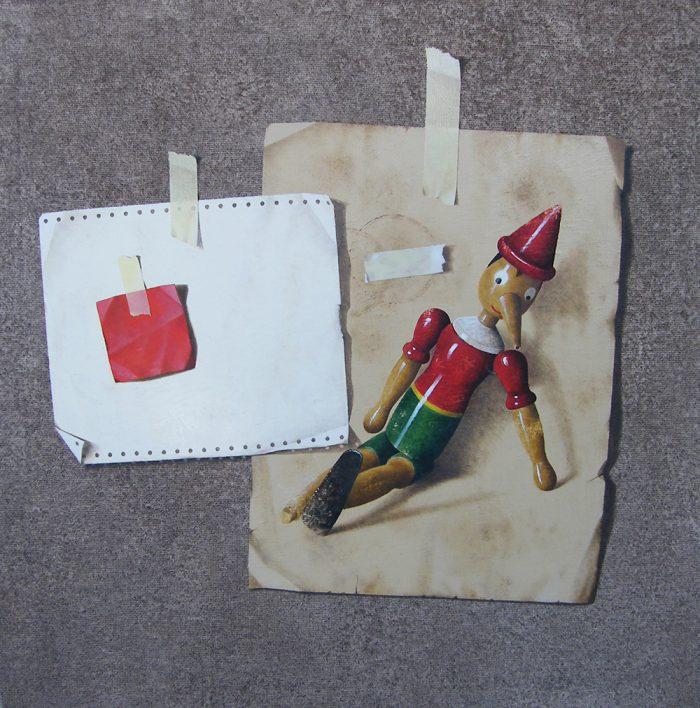 Pinocchio, 2008, olio su tela, cm. 70 x 70