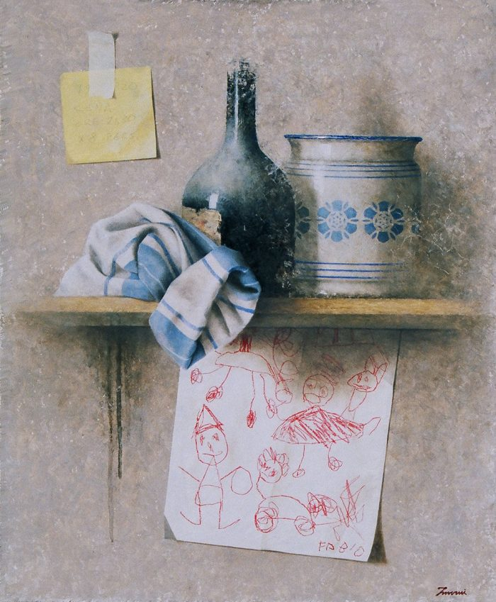 Presenze, 2006, olio e pastello a cera su tela, cm. 50 x 60
