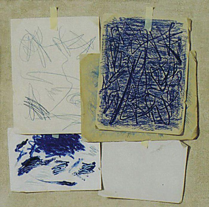 Presenze in blu, 2007, olio su tela, cm. 80 x 80