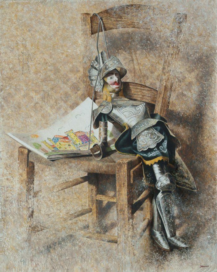 Racconti, 2004, olio e pastello a cera su tela, cm. 80 x 100