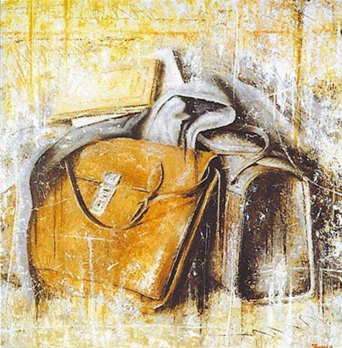 Ricordo di scuola 1996, olio su tela, cm. 70 x 70