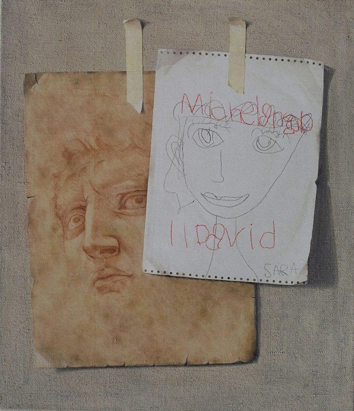 Sara e Michelangelo, 2006, olio e pastello a cera su tela, cm. 60 x 70