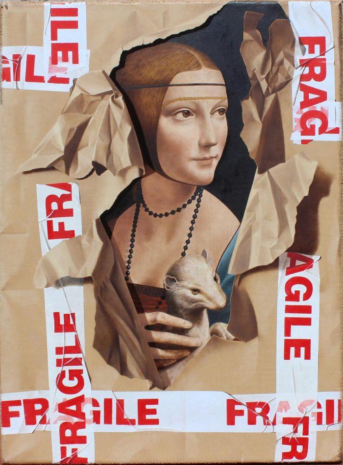 La dama con l'ermellino, 2019, Olio su tela, cm. 40 x 55