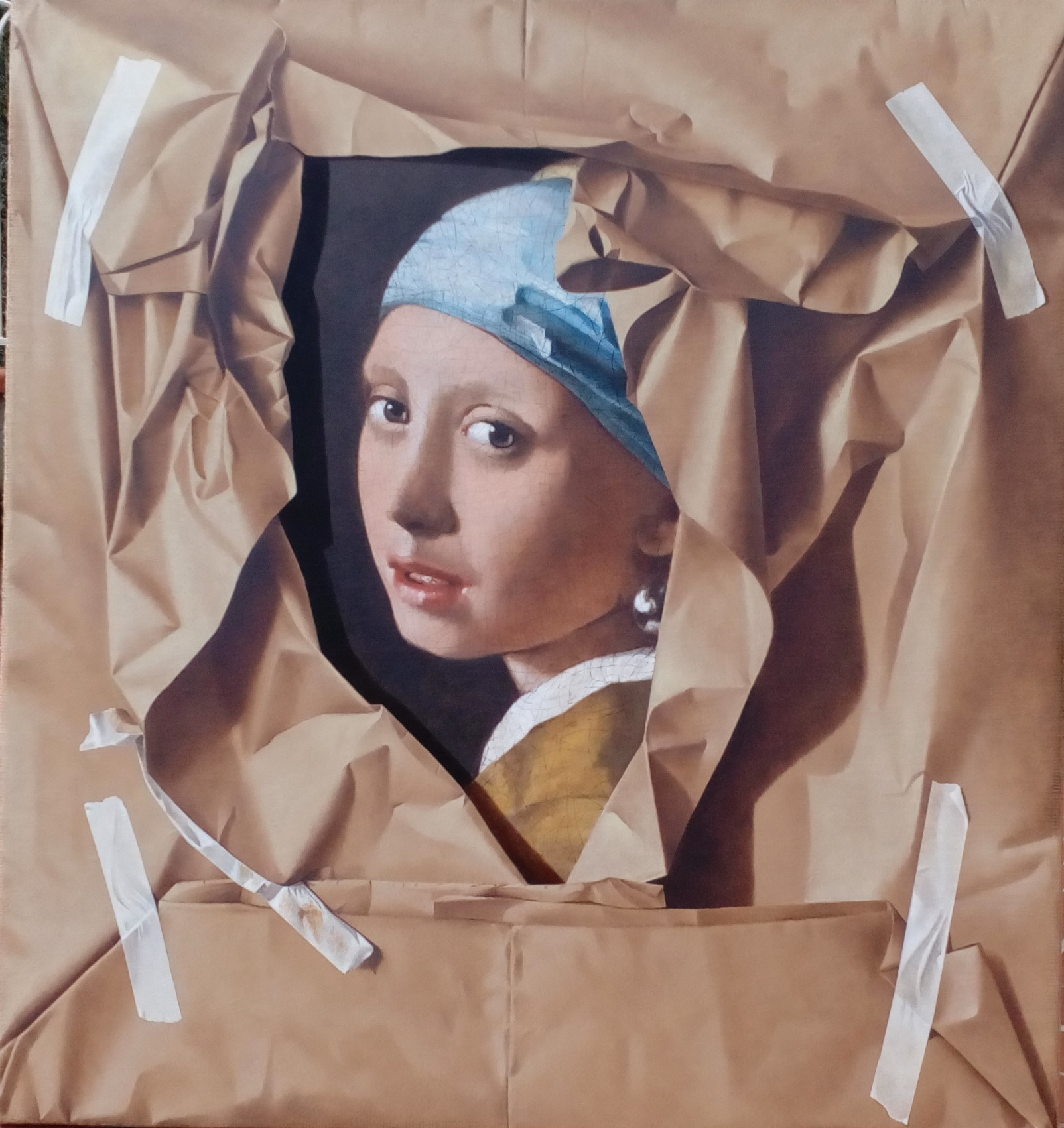 La ragazza con l'orecchino di perla, 2020, Olio su tela, cm 65 x 70